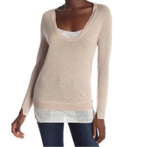 NWT Brochu Walker Tan and White Scoop Neck Top